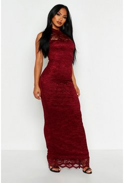 Womens Berry Lace Scallop Maxi Dress