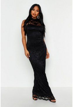 Womens Black Lace Scallop Maxi Dress