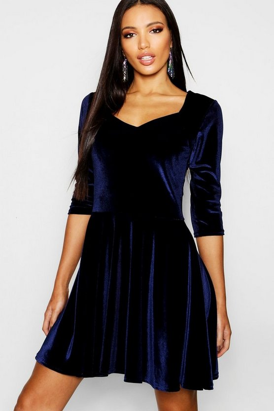 Womens Velvet Sweetheart Neck Skater Dress
