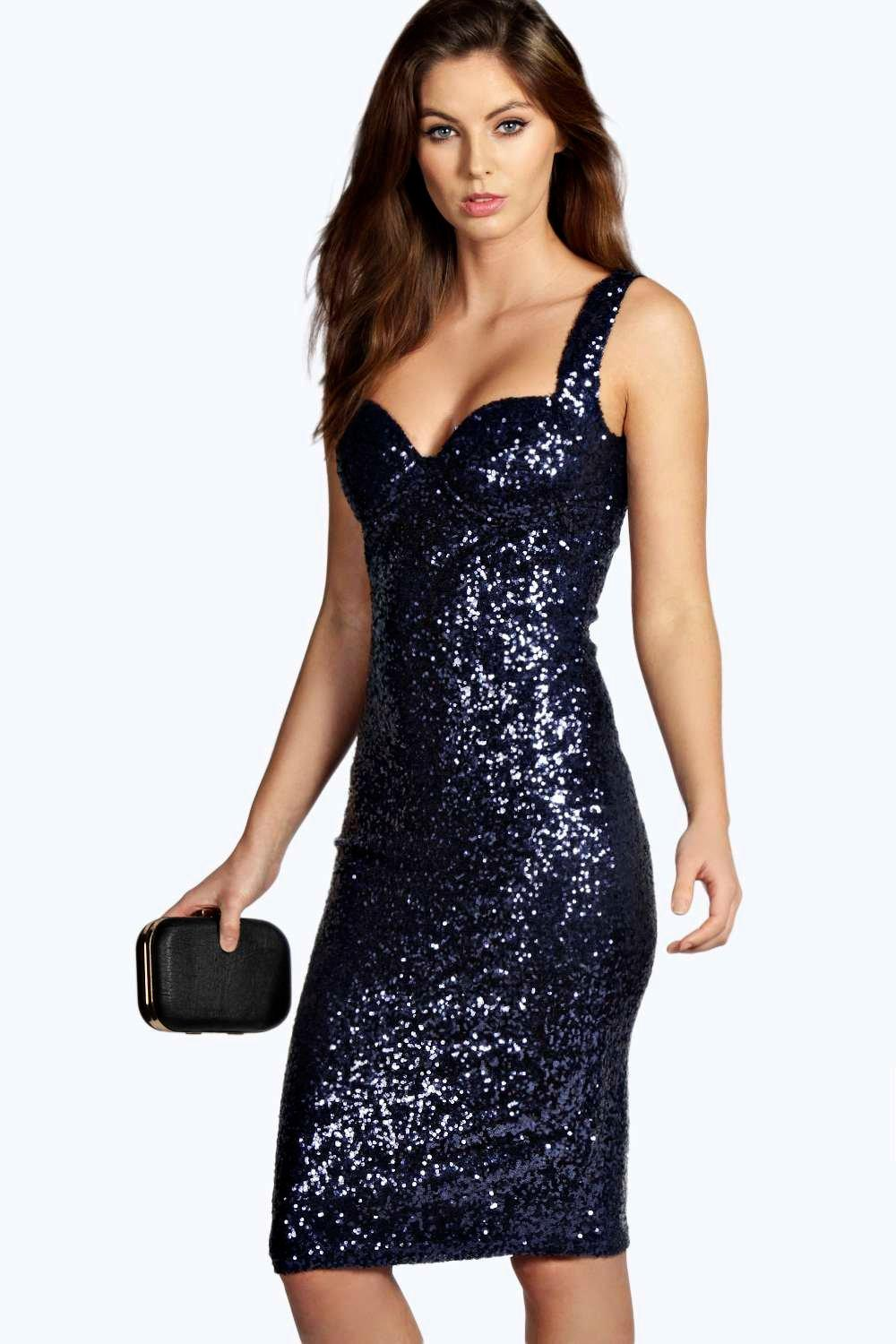 Boohoo Womens Kimmie Sequin Fitted Cups Midi Dress | eBay