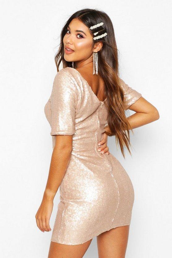 Sequin Short Sleeve Bodycon Christmas Party Dress