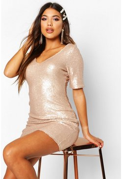 Gold Sequin Short Sleeve Bodycon Dress