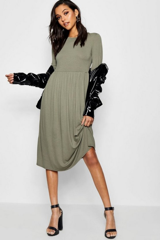 Womens Khaki Long Sleeve Midi Dress