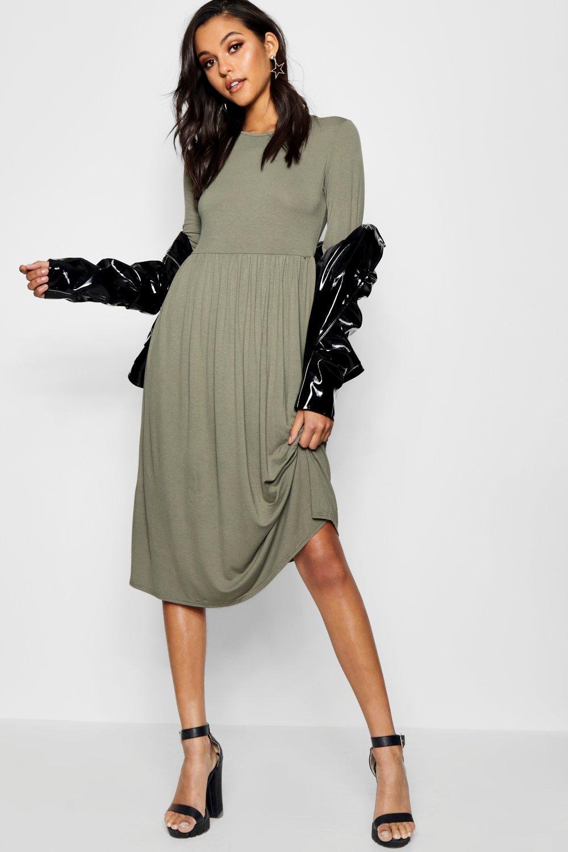89606d6eb7 Womens Khaki Long Sleeve Midi Dress. Hover to zoom