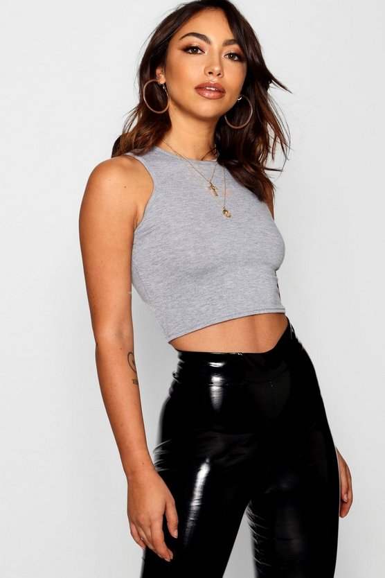 Womens Grey marl Basic Slash Neck Crop Top