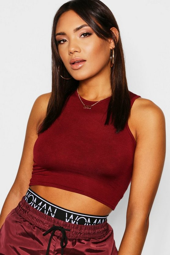 Basic Slash Neck Crop Top