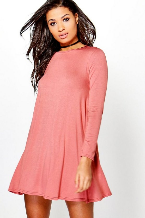 Scoop Neck Long Sleeve Swing Dress
