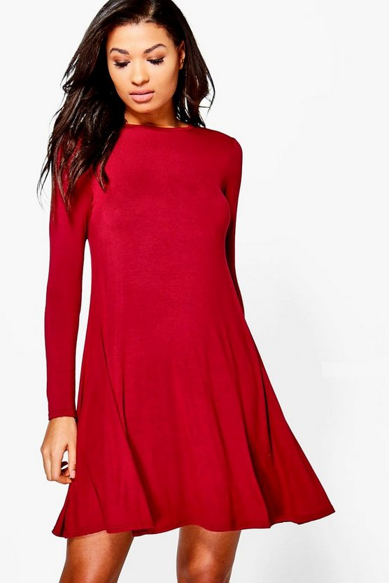 Womens Berry Scoop Neck Long Sleeve Swing Dress