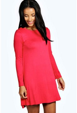 Womens Red Scoop Neck Long Sleeve Swing Dress