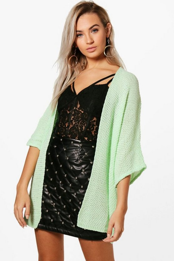 Womens Mint Loose Knit Batwing Cardigan