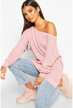 Womens Blush Slash Neck Fisherman Sweater