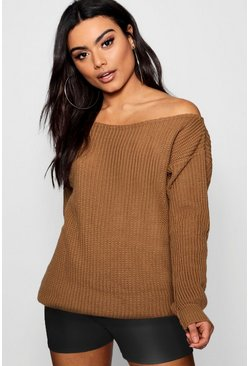 Camel Slash Neck Fisherman Sweater