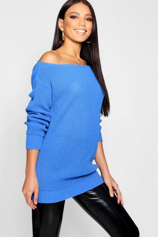 Slash Neck Fisherman Jumper
