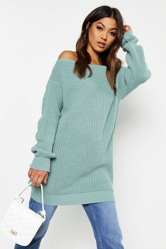 Womens Sage Slash Neck Fisherman Jumper