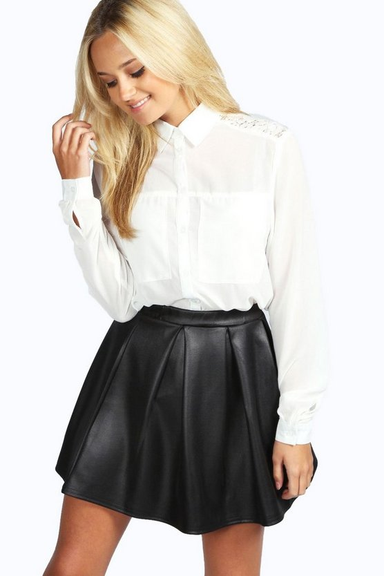 Long Sleeve Lace Panel Shirt