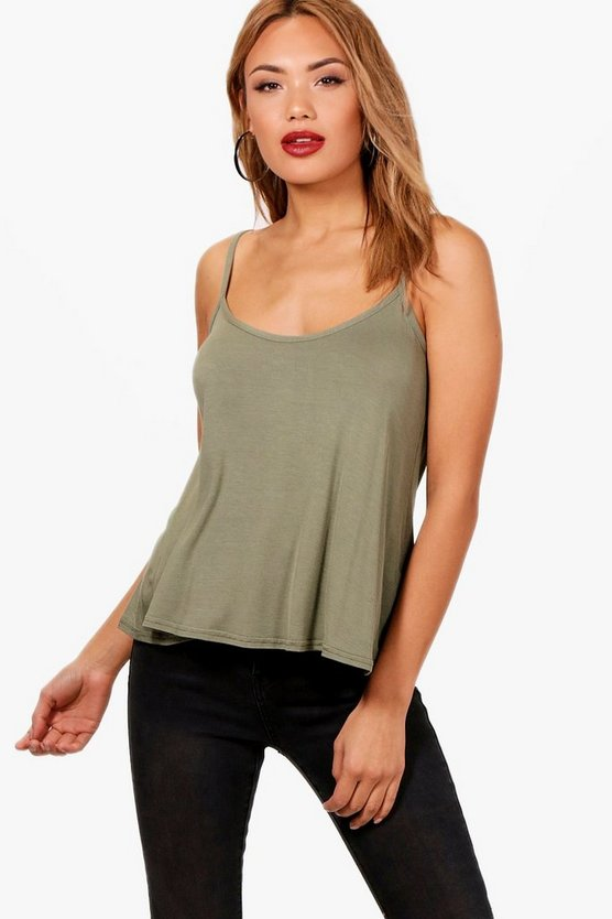 Womens Khaki Basic Swing Cami