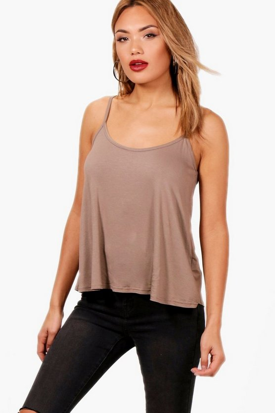 Womens Mocha Basic Swing Cami