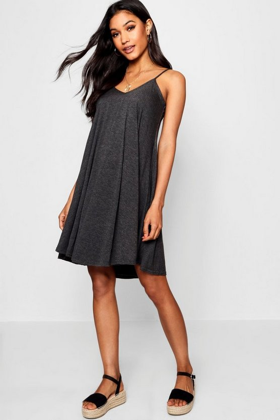 Womens Charcoal Basic Swing Dress