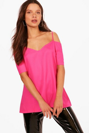 Fuchsia Woven Strappy Open Shoulder Top