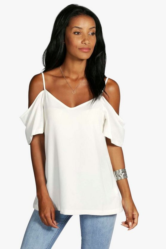 Woven Strappy Open Shoulder Top