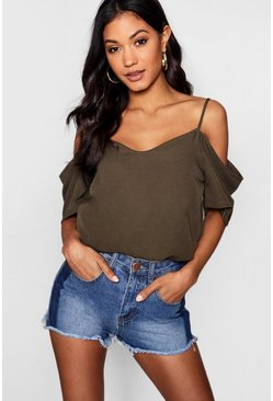 Womens Khaki Woven Strappy Open Shoulder Top