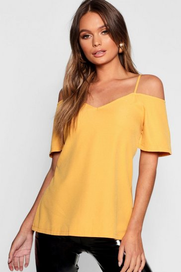 Mustard Woven Strappy Open Shoulder Top