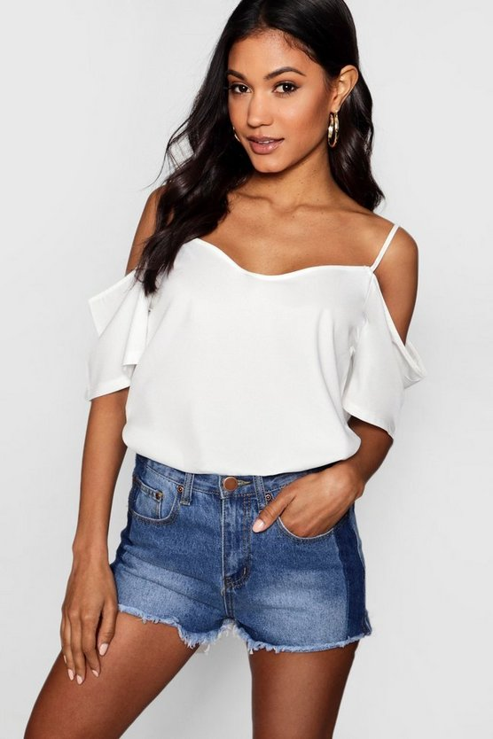 Womens White Woven Strappy Open Shoulder Top