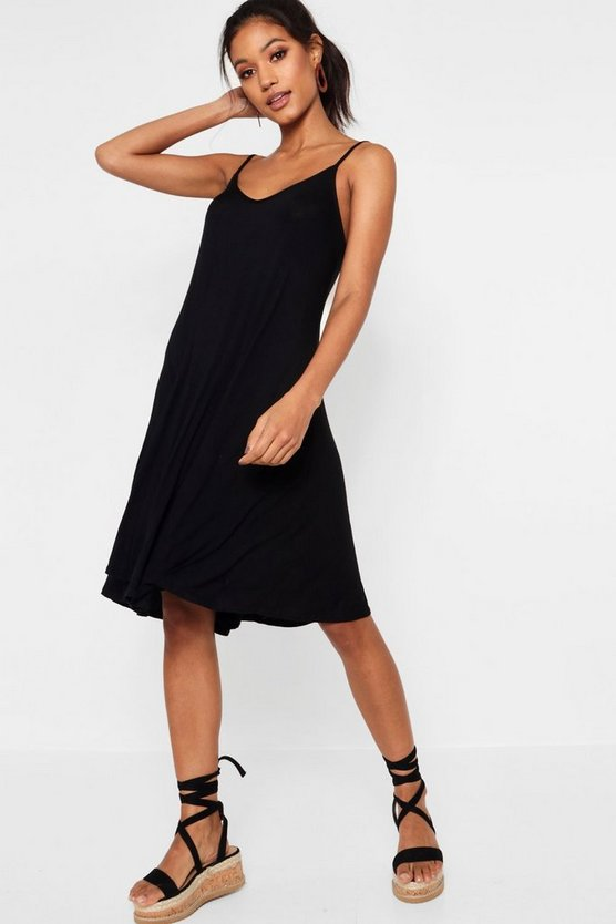 Womens Black Strappy Swing Dress