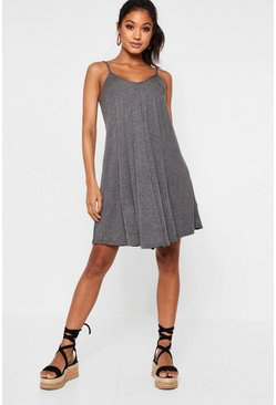Charcoal Strappy Swing Dress