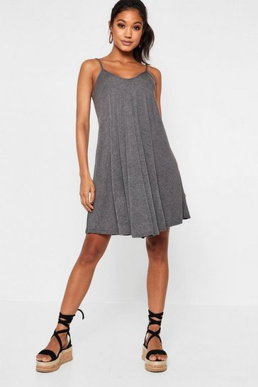Womens Charcoal Strappy Swing Dress