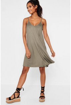 Khaki Strappy Swing Dress