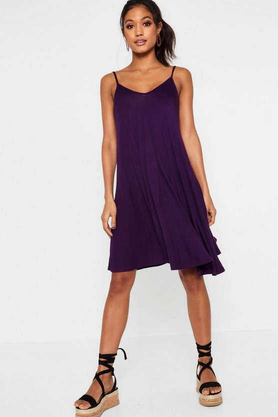 Womens Plum Strappy Swing Dress