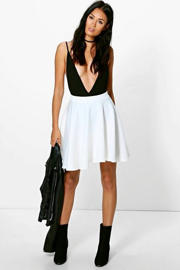 Womens Ivory Basic Scuba Skater Skirt