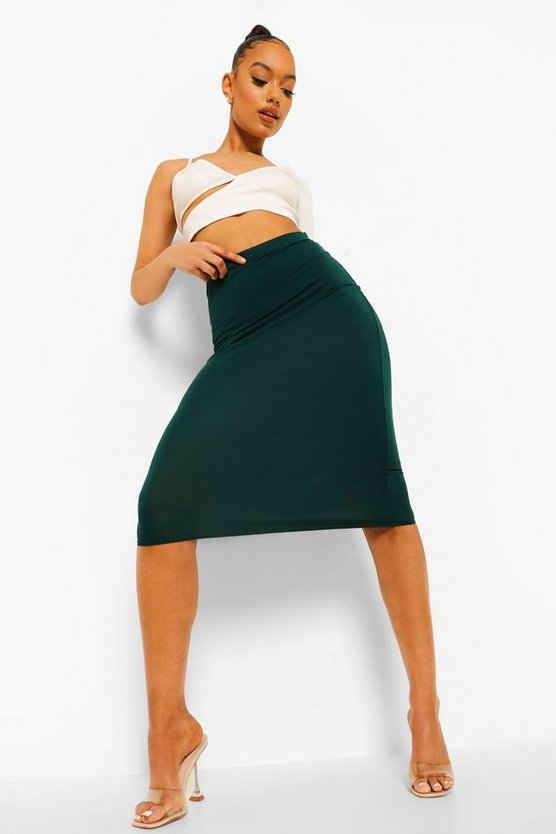 Womens Bottle Basic Midi Jersey Tube Skirt