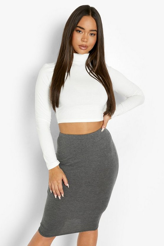 Womens Charcoal Basic Midi Jersey Tube Skirt