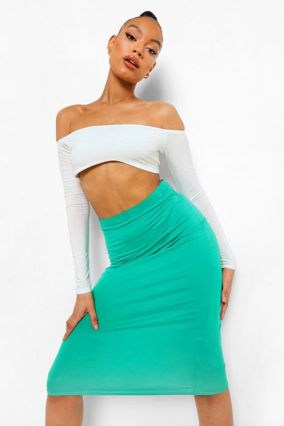 Womens Jade Basic Midi Jersey Tube Skirt