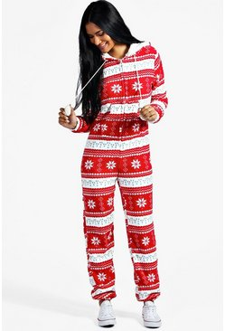Womens Red Fairisle Pom Pom Hooded Onesie