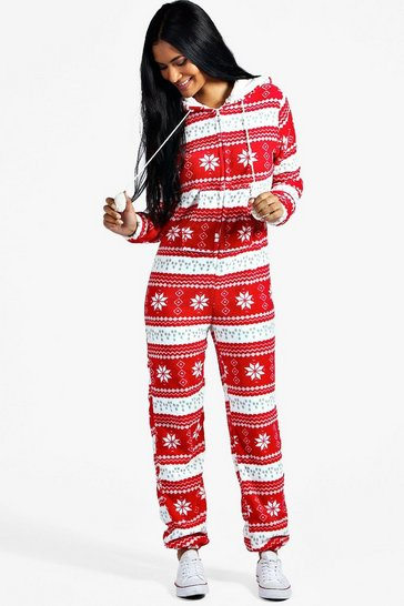 Red Fairisle Pom Pom Hooded Onesie