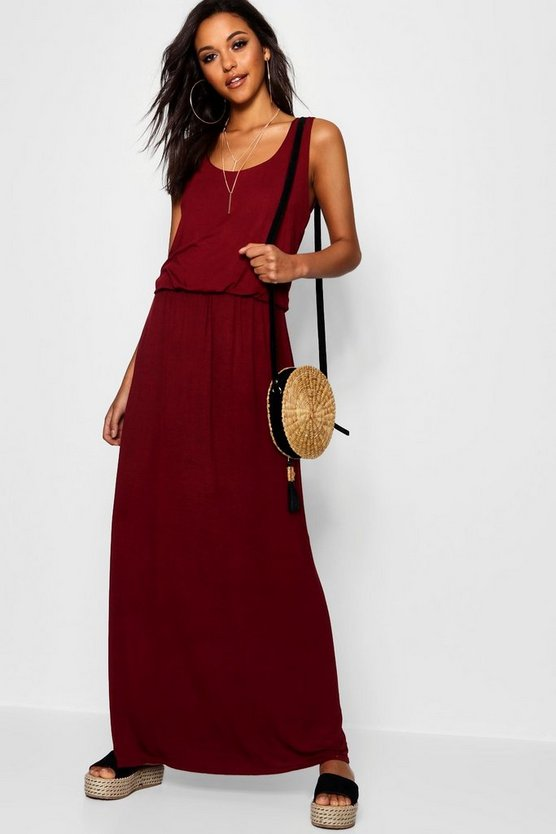 Womens Berry Racer Back Maxi Dress