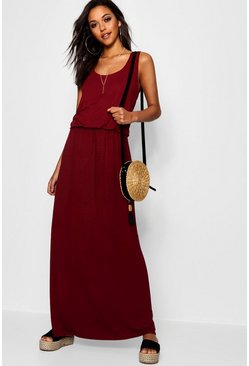 Robe maxi à dos nageur, Fruits rouges