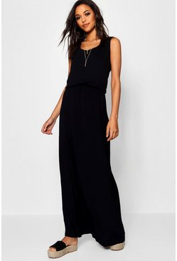 Womens Black Racer Back Maxi Dress