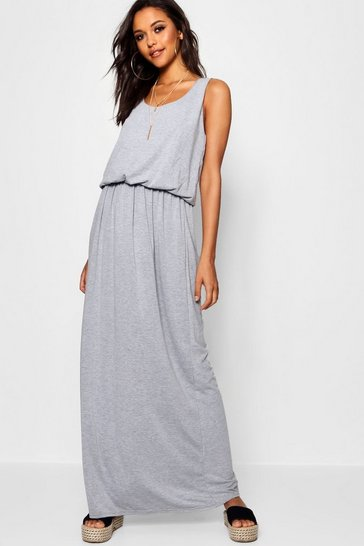Grey marl Racer Back Maxi Dress