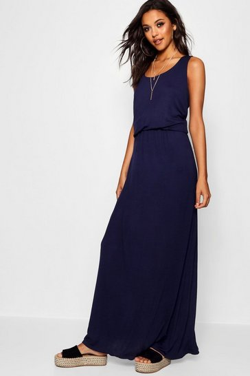 Navy Racer Back Maxi Dress