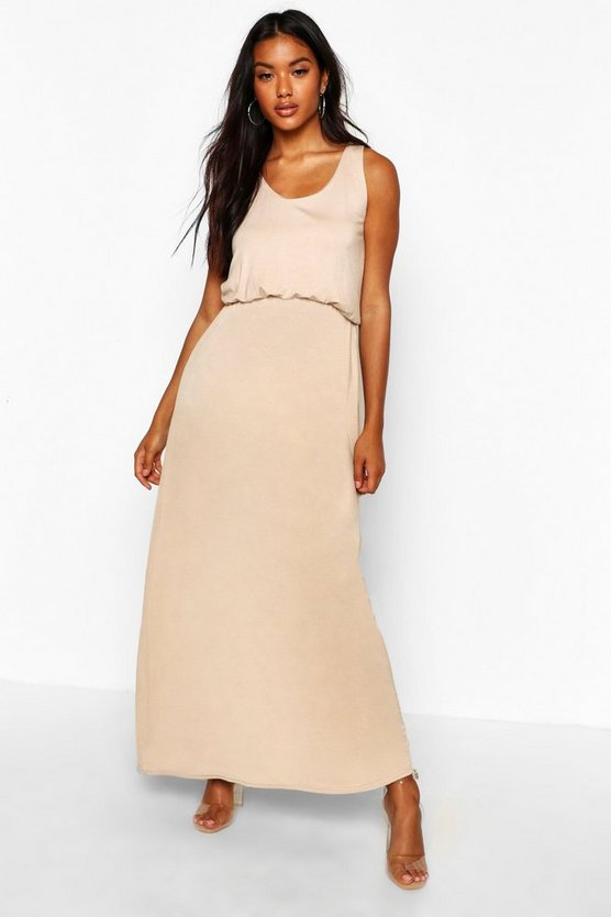 Womens Sand Racer Back Maxi Dress