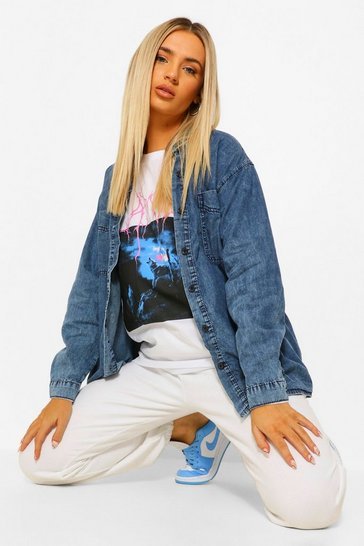 Womens Blue Acid Wash Oversized Denim Shirt