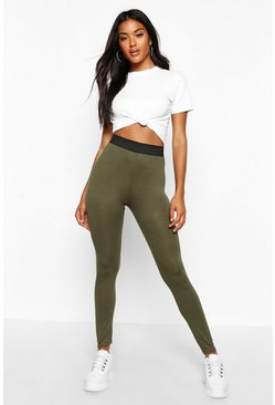 Womens Khaki Basic Contrast Waist Band Leggings