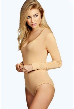 Body manches longues col v, Camel, Femme