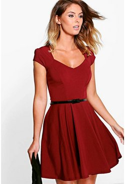 Womens Berry Sweetheart Neck Skater Dress