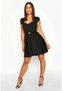 Womens Black Sweetheart Neck Skater Dress