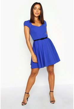 Womens Cobalt Sweetheart Neck Skater Dress